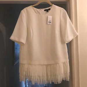 Banana Republic cream fringe top